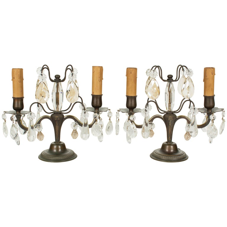 French Art Deco Girandole Lamps, a Pair For Sale