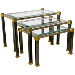 French Art Deco Glass and Brass Nest of Tables