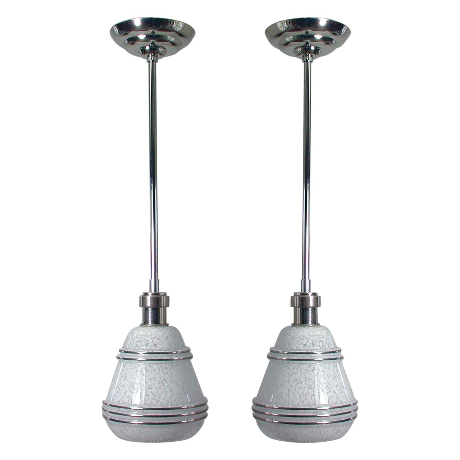 French Art Deco Glass and Chrome Pendants, 1930s-1940s, Set of 2