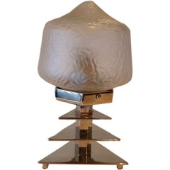 French Art Deco Glass and Chrome Table Lamp