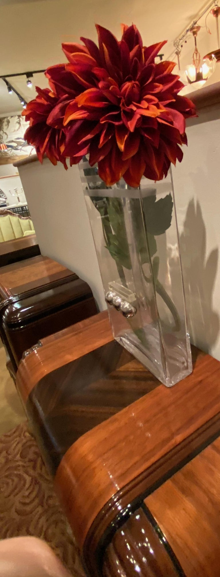 Mid-20th Century French Art Deco Glass and Chrome Streamlined Vase by Riecke For Sale