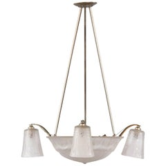 French Art Deco Glass and Metal Chandelier by Muller Frères, 1930s