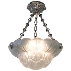 French Art Deco Glass Chandelier by Degué