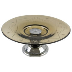 French Art Deco Glass, Macassar Wood and Chrome Centerpiece Bowl