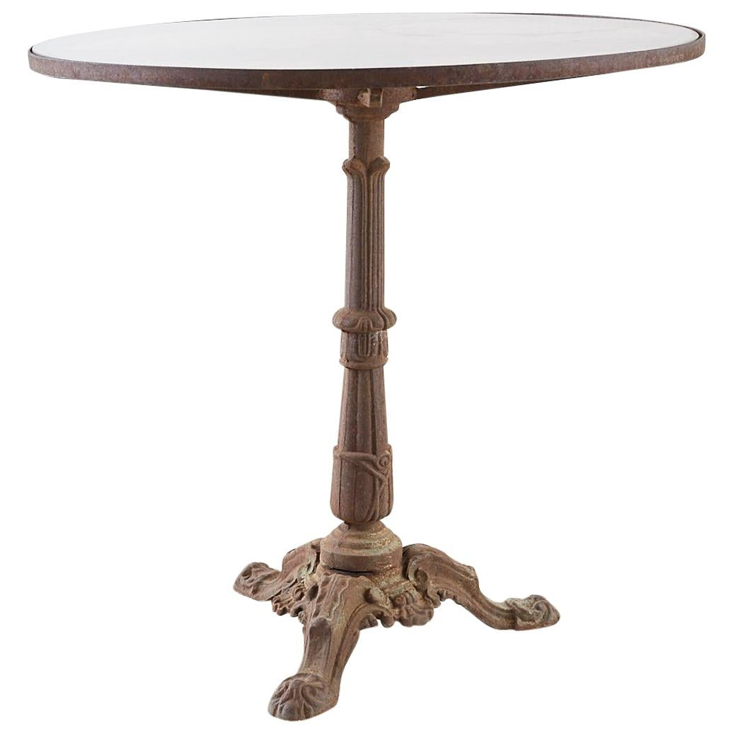 French Art Deco Glass Top Iron Bistro Cafe Table