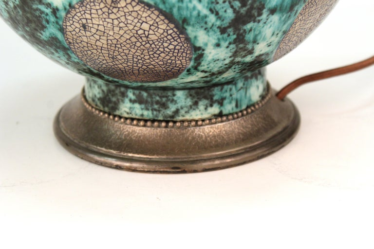 French Art Deco Glazed Ceramic Table Lamp and Vase For Sale 1