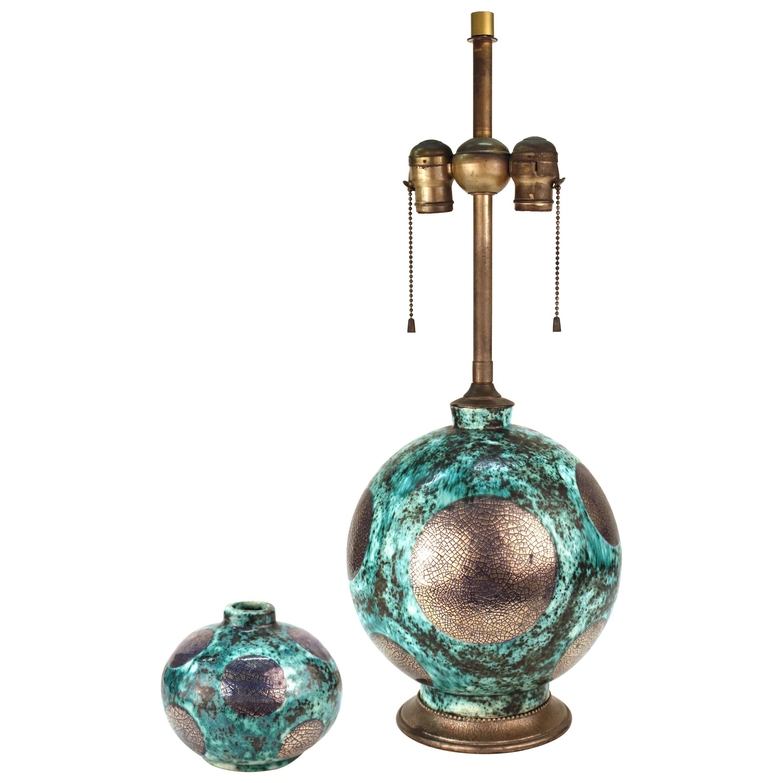 French Art Deco Glazed Ceramic Table Lamp and Vase