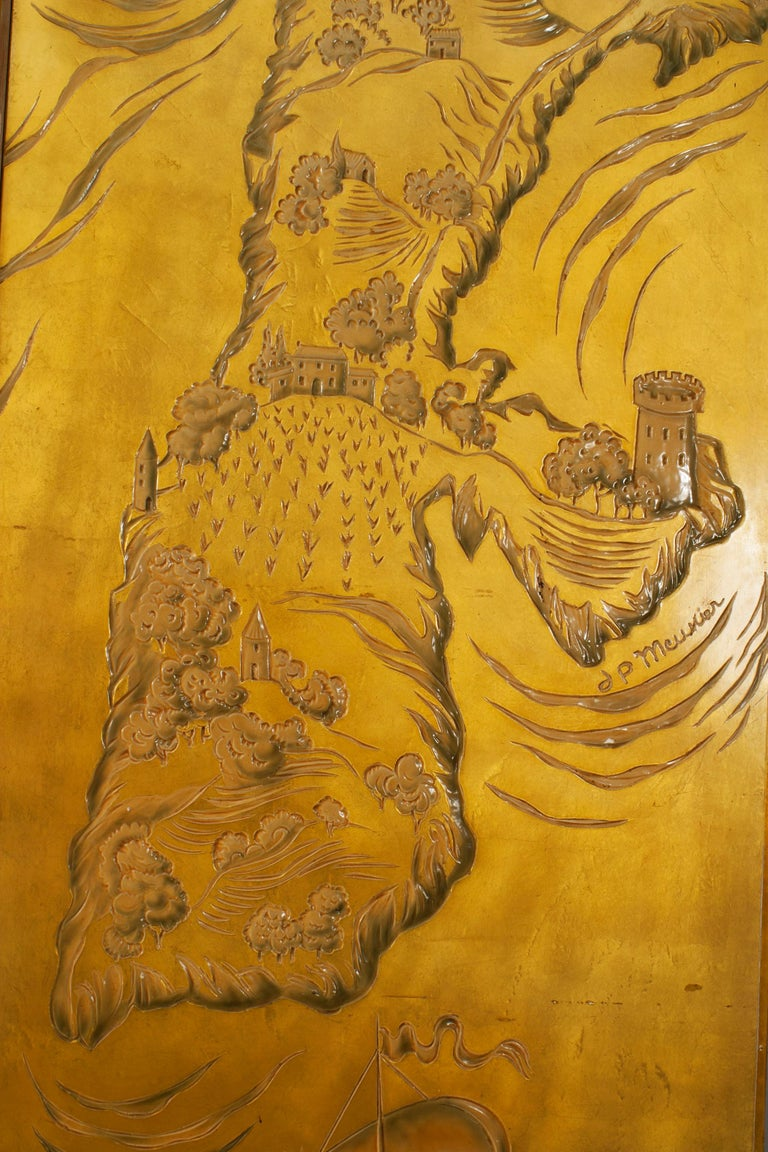 French Art Deco Gold Lacquered Screen by JP Meunier In Good Condition For Sale In New York, NY