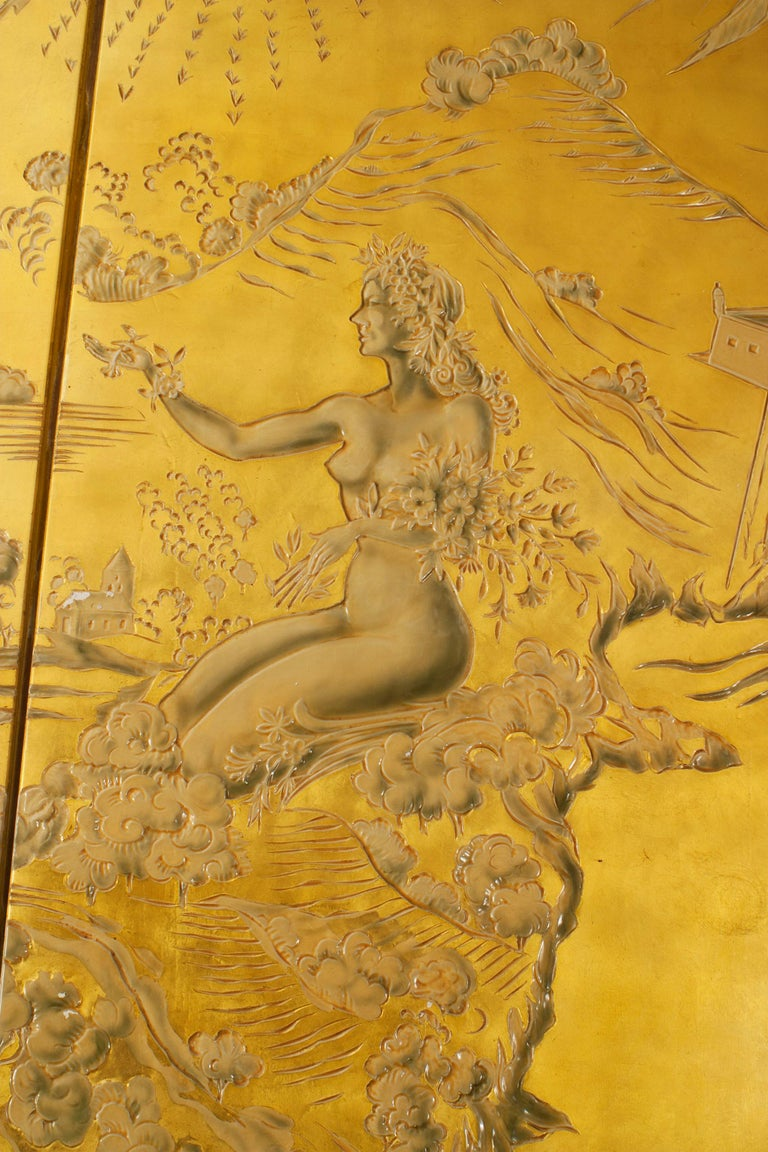 19th Century French Art Deco Gold Lacquered Screen by JP Meunier For Sale