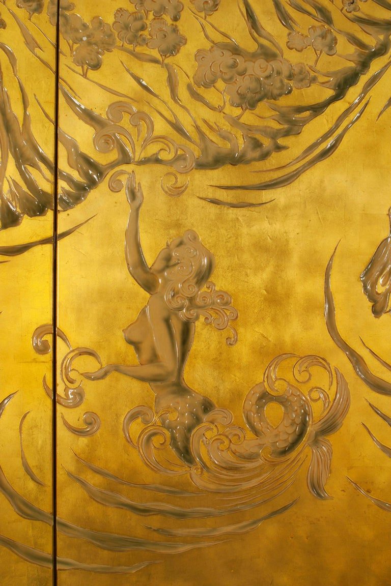 French Art Deco Gold Lacquered Screen by JP Meunier For Sale 1