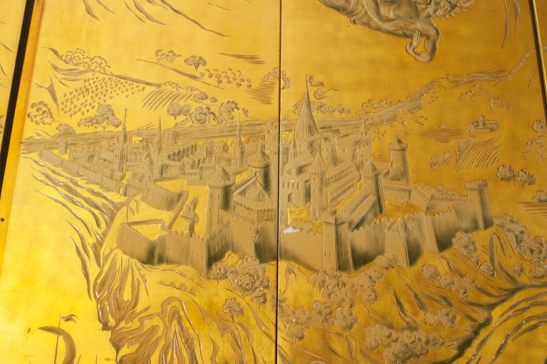 French Art Deco Gold Lacquered Screen by JP Meunier For Sale 2