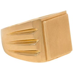French Art Deco Gold Rectangular Signet Ring, Ready to Be Inscribed