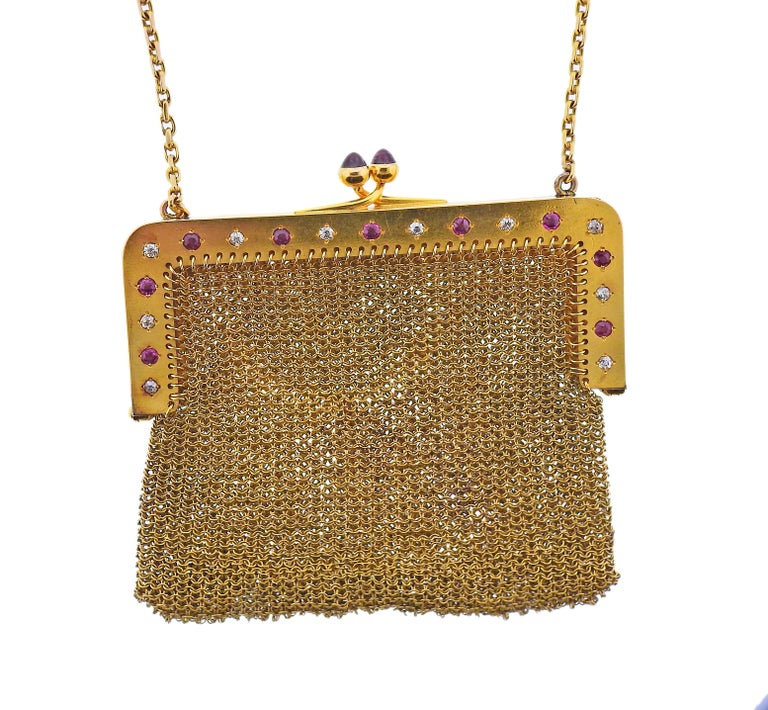 Round Cut French Art Deco Gold Ruby Diamond Mesh Purse For Sale