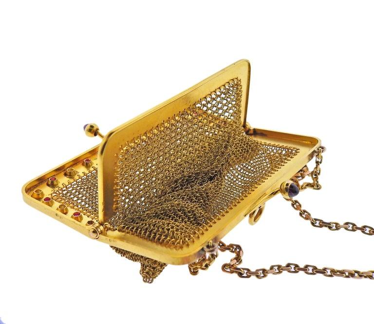 Women's French Art Deco Gold Ruby Diamond Mesh Purse For Sale