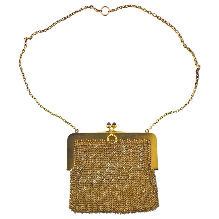 French Art Deco Gold Ruby Diamond Mesh Purse For Sale