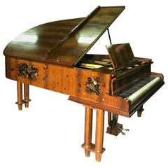 French Art Déco Grand Piano by Leleu Rosewood Mother-of-Pearl Modernism