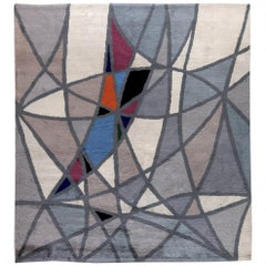French Art Deco Gray, Blue and White Handmade Wool Rug