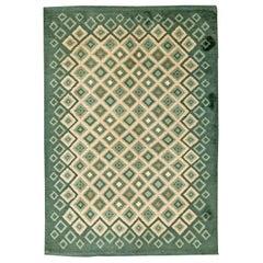 French Art Deco Green and White Handmade Wool Rug by Paule Leleu