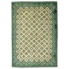French Art Deco Green and White Handmade Wool Rug by Paule Leleu