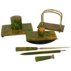 French Art Deco Green Catalin Bakelite Desk Set, 6 pieces