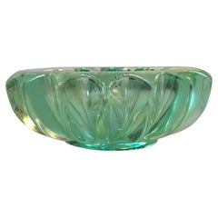 French Art Deco Green Glass Ashtray by Pierre D'avesn, 1940s