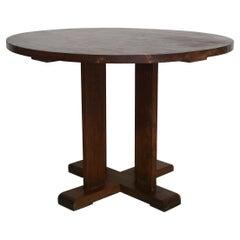 French Art Deco Gueridon Table in Solid Oak Wood 1930s