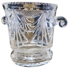 French Art Deco Hand Blown Cut Crystal Champaign Ice Bucket, Wine Cooler