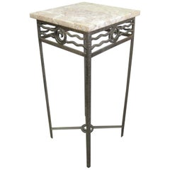 French Art Deco Hand Hammered Iron Small Table / Pedestal, Charles Piguet