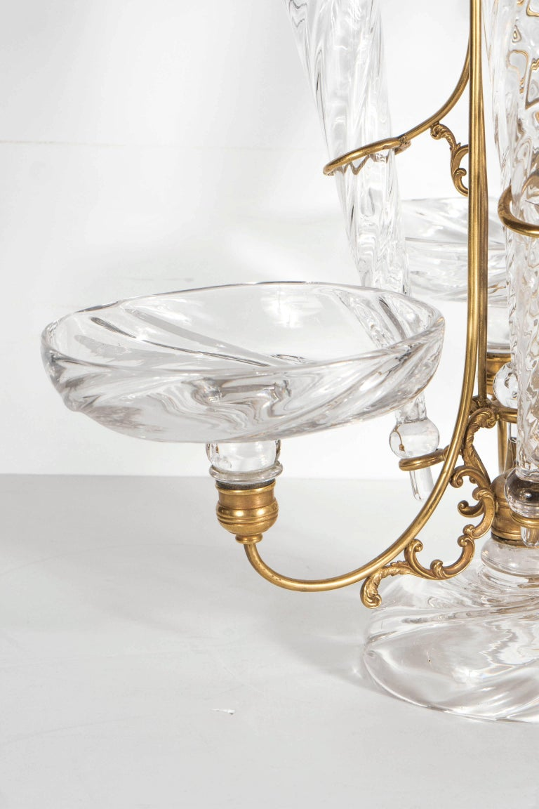 French Art Deco Hand Blown Crystal and Brass Scroll Form Design Epergne In Excellent Condition For Sale In New York, NY