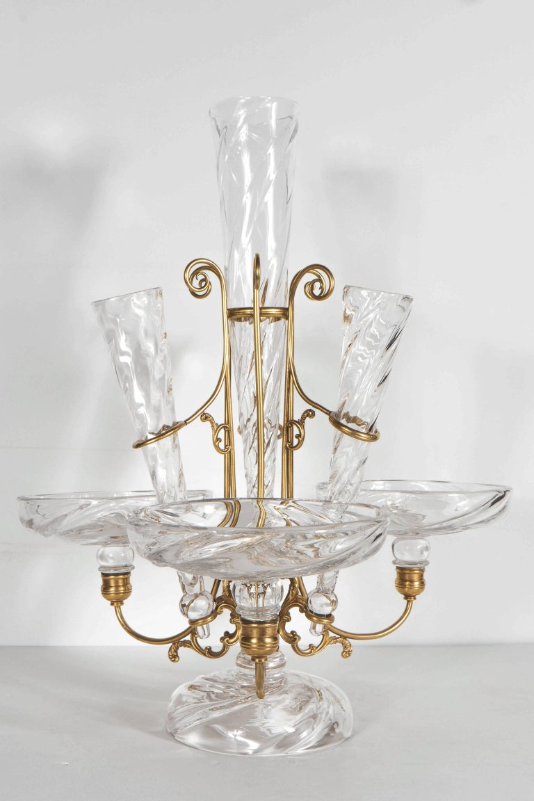 Mid-20th Century French Art Deco Hand Blown Crystal and Brass Scroll Form Design Epergne For Sale