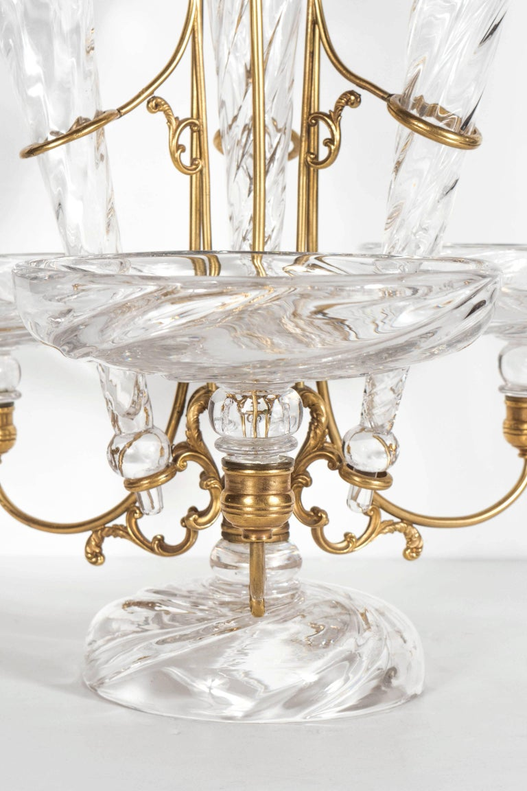 French Art Deco Hand Blown Crystal and Brass Scroll Form Design Epergne For Sale 1