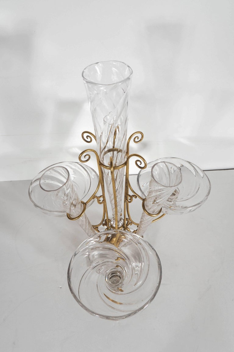 French Art Deco Hand Blown Crystal and Brass Scroll Form Design Epergne For Sale 3