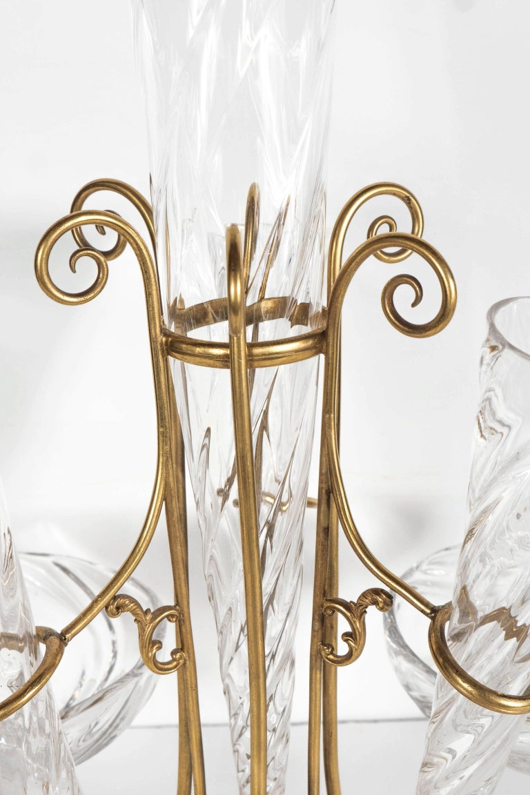 French Art Deco Hand Blown Crystal and Brass Scroll Form Design Epergne For Sale 5