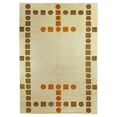French Art Deco Handmade Wool Rug in Cool Brown, Rust and White