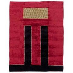 French Art Deco Handmade Wool Rug in Crimson, Black and Sandy Beige