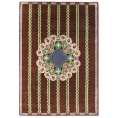French Art Deco Handmade Wool Rug in Dark Brown, Blue and Lilac Color