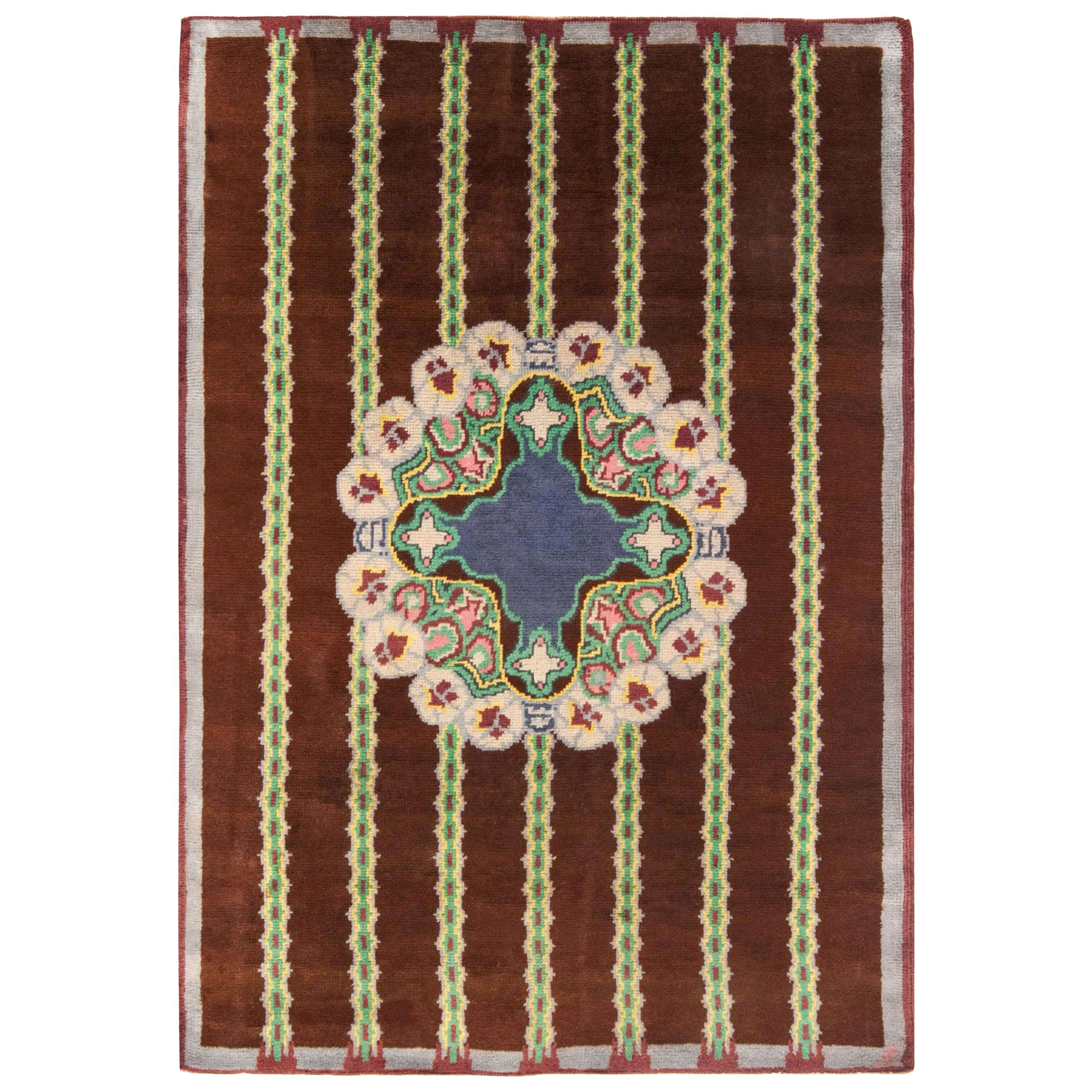 French Art Deco Brown, Green, Yellow, Blue, Lilac Handmade Wool Rug