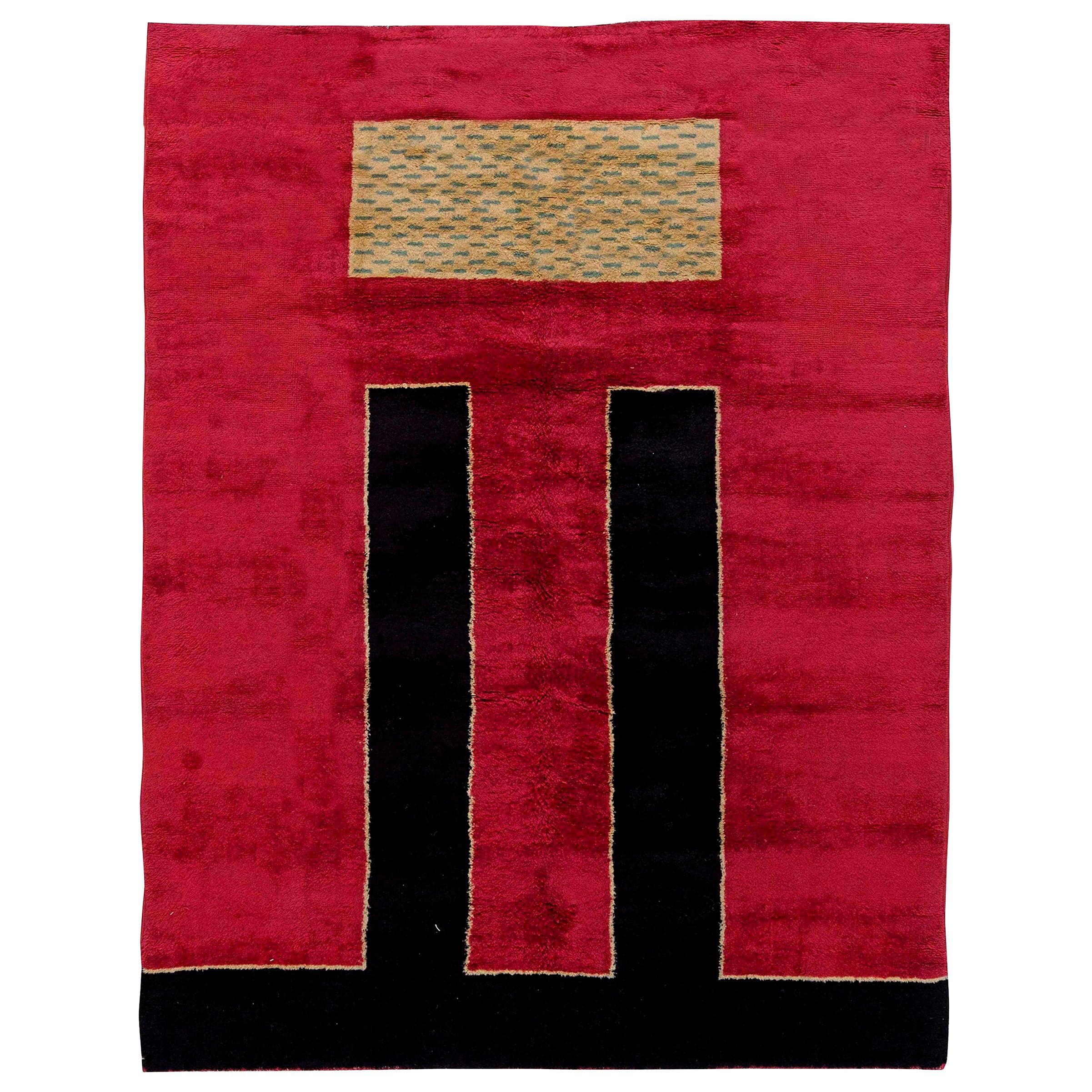 Vintage French Art Deco Crimson Background Handmade Wool Rug