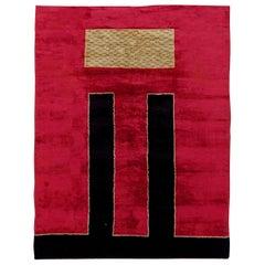 French Art Deco Handmade Wool Rug on Crimson Background