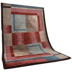 French Art Deco Handwoven Wool Rug, 1930s
