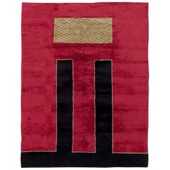 French Art Deco Handwoven Wool Rug in Crimson, Black and Sandy Beige