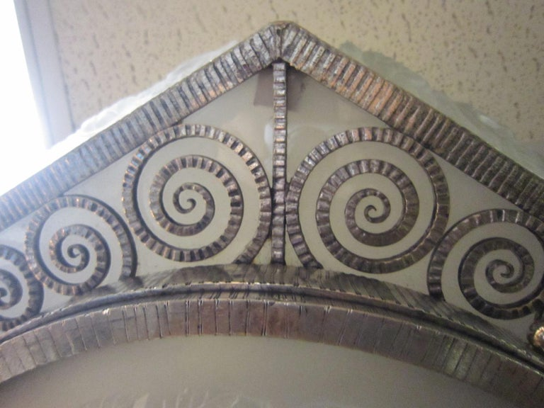 French Art Deco Hexagonal Hammered Iron and Art Glass Flush Mount by Degue For Sale 2