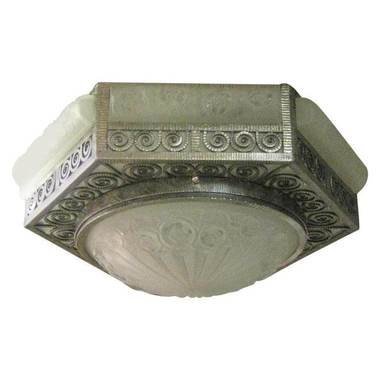 French Art Deco Hexagonal Hammered Iron and Art Glass Flush Mount by Degue For Sale