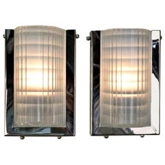 French Art Deco Holophane Glass and Nickel Sconces