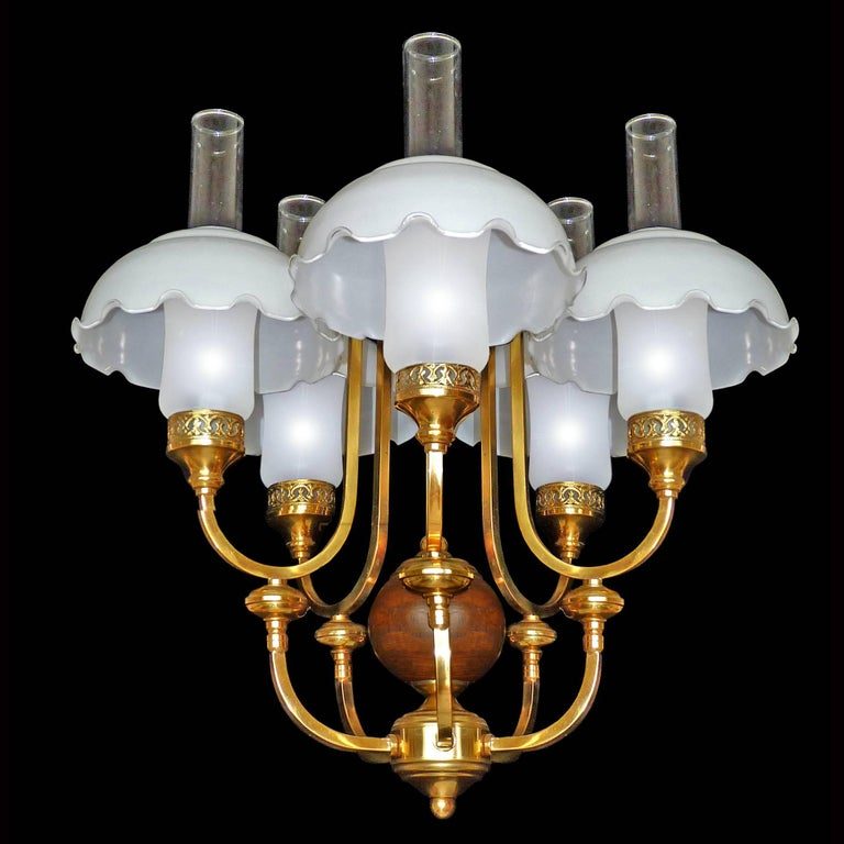 French Art Deco In Colonial Style Chandelier Gold Plated