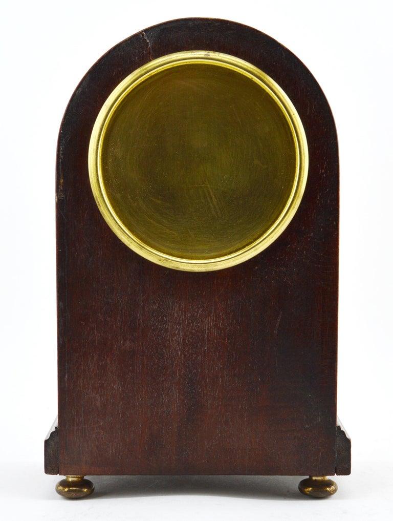 Metal French Art Deco Inlaid Amboyna Veneered Table Clock, 1920s, Sue & Mare