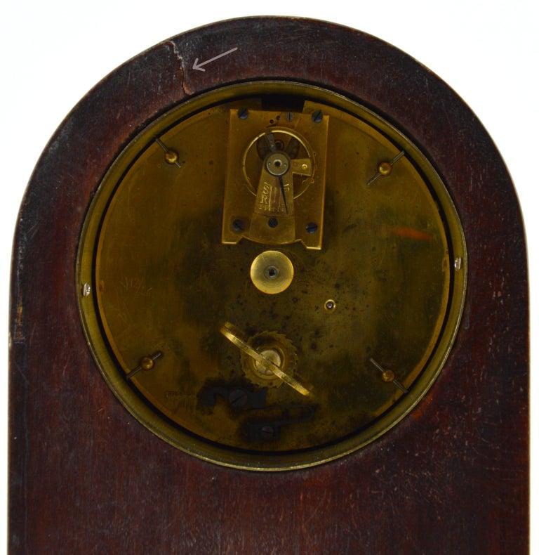 French Art Deco Inlaid Amboyna Veneered Table Clock, 1920s, Sue & Mare 1