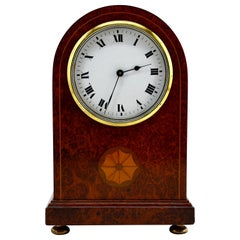 French Art Deco Inlaid Amboyna Veneered Table Clock, 1920s, Sue & Mare