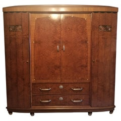 French Art Deco Inlaid Thuya Wood Armoire, Attributed to Maurice Dufrène