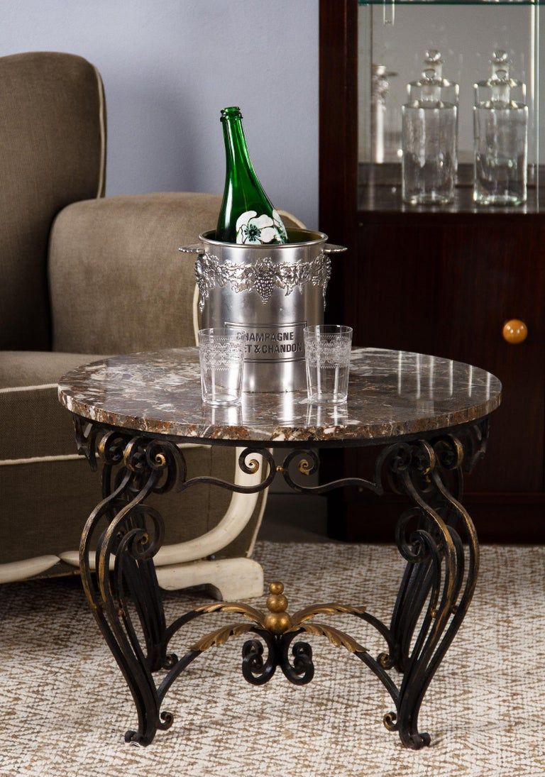 French Art Deco Iron and Marble Coffee Table by Robert Merceris, 1940s For Sale 13